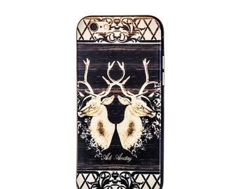 Black iphone case, deer print, Womens cases, Rubber Phone Case, cool gift