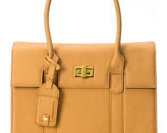 "15-inch Womens Laptop Bag - GRACESHIP ""London"" Tan Briefcase / Computer Bag / Messenger Bag / Laptop Tote"