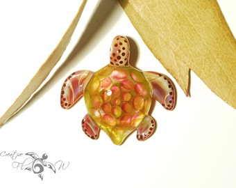 Turtle Pendant - Orange Rose Turtle - Glass Art Jewelry - Boro Pendant - Handcrafted Glass - Blown Glass - Unique & Artist Signed
