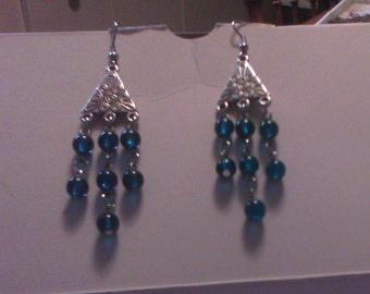 Silver Triangle and Teal Bead Dangle Chandelier Earrings