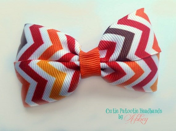 Fall Chevron Tuxedo Bow Alligator Clip