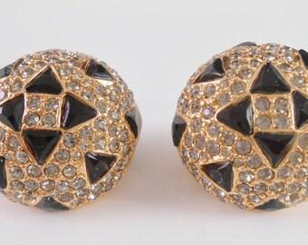 Ciner Smoke Rhinestone Black Glass Round Clip Back Earrings