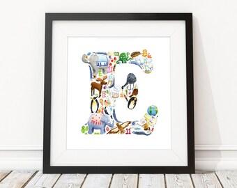 E is for...  Alphabet print - Children's Art Print, Signed