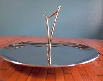 Vintage Mid Century Crome Holiday Buffet Brunch Serving Tray with handle