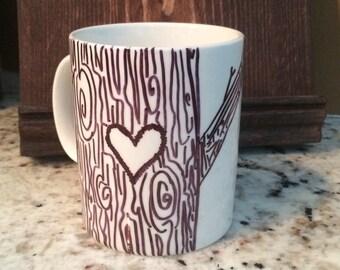 Tree with Carved Initials Coffee Mug