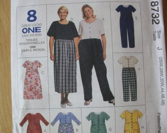 McCall 8732 Women's (Size J 26W, 28W, 30W, 44, 46, 48) Dress and Jumpsuit in two lengths..  8 Great Looks One Easy Pattern