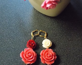 Pink rose earrings with red and white rose accents