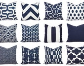 Navy and White Pillow Cover - Navy Blue Throw Pillow Cover - Navy Euro Sham - Decorative Pillow - Navy Pillows - Blue Pillows