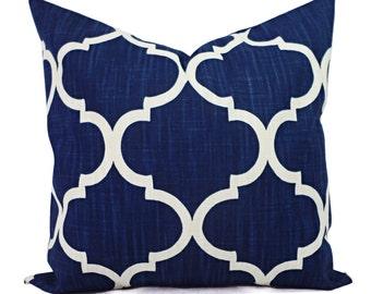 Decorative Pillow Covers - Two Navy Quatrefoil Covers - Navy Pillow Cover  - Blue Pillow Cover - Navy Pillows - Zipper Pillow