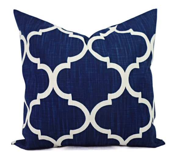 two pillow shams two navy quatrefoil covers by castawaycovedecor. Black Bedroom Furniture Sets. Home Design Ideas