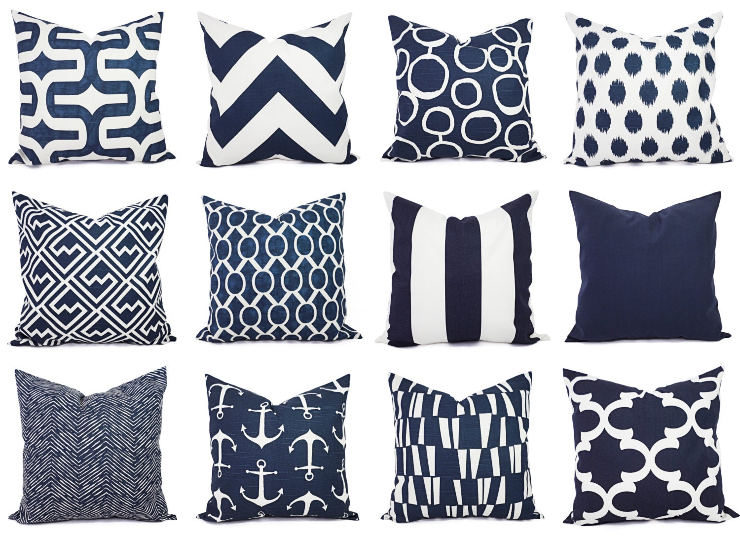 Throw Pillows Navy And White : Navy and White Pillow Cover Navy Blue Throw Pillow Cover