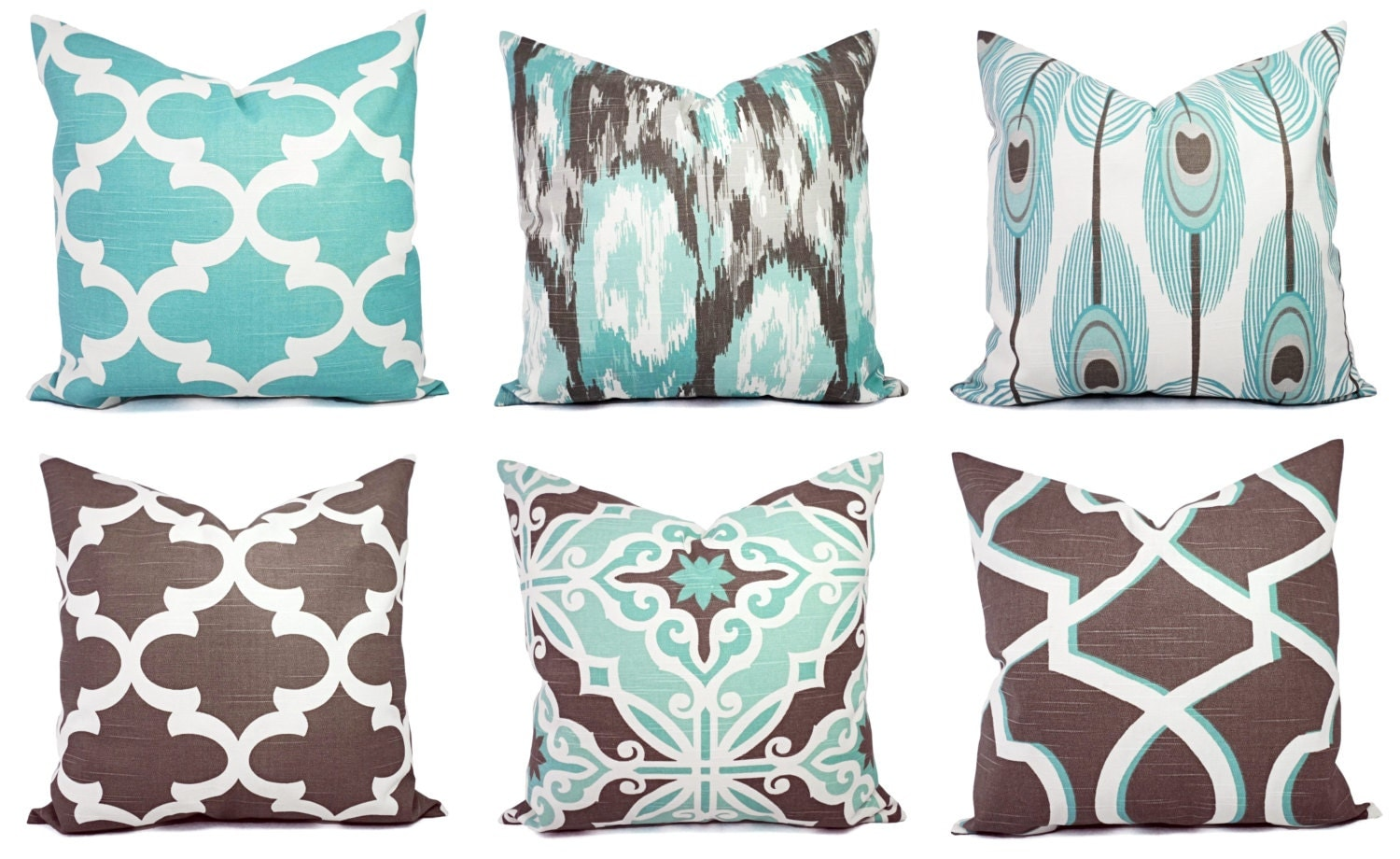 Blue And Brown Decorative Pillow Cover : Decorative Pillow Blue and Brown Pillow Cover Ikat Pillow