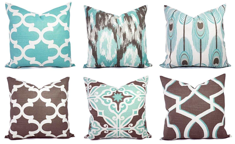 Decorative Pillow Blue and Brown Pillow Cover Ikat Pillow