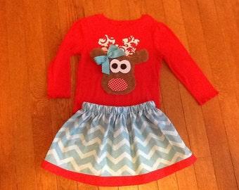 Christmas Reindeer or monogrammed girl top and Skirt 12 18 2 3 4 5 6 7