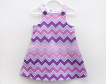 Shades OF Purple Ombre Chevron Jumper Dress  - Toddler Girls Jumper Dress - Dress Preppy Chevron