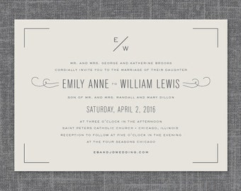 Estate Modern Wedding Invitation Suite | Print-It-Yourself