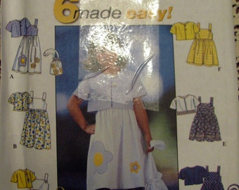 Simplicity 8544, Little Girls Sun Dress, Jacket and Purse Sewing Pattern, Sizes 5,6,7 and 8
