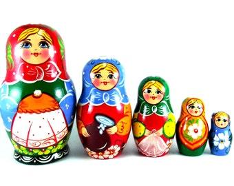 Nesting doll 5 pcs Bread and salt.  Russian matryoshka. The original birthday gift.