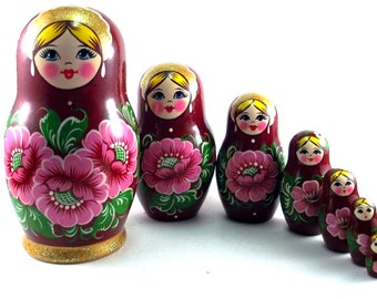 Nesting doll 7 pcs Red flowers new set russian matryoshka dolls The original birthday gift.
