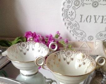 Vintage Minton Pendant art deco design sugar bowl and milk jug (creamer set) in bone china 1920's