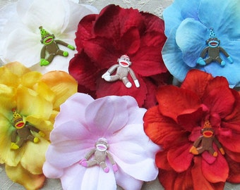Sock Monkey Mini Hair Flower Clips/Pins or Shoe Clips - 6 Colors/Styles!