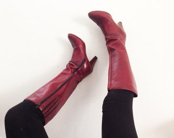 Red wine leather knee high boots