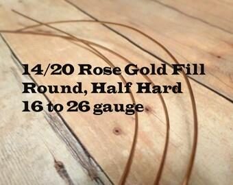 14/20 Rose Gold Filled Wire, Round, Half Hard, 16 Gauge, 18 Gauge, 20 Gauge, 21 Gauge, 22 Gauge, 24 Gauge, 26 Gauge, 28 30 Rose Gold Wire