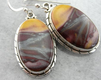 Mookaite Jasper And Sterling Silver Drop Earrings VNF1CU-D