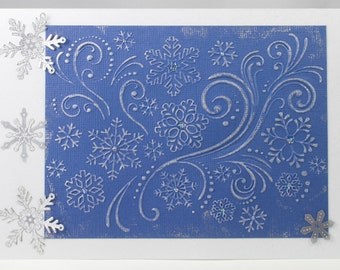 Snowflakes and Flourishes Christmas Card
