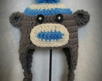Crocheted sock monkey Hat! ALL SIZES available!