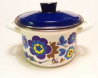 60s swedish Vintage enamel retro pot with lid. Scandi pattern yellow with  flowers
