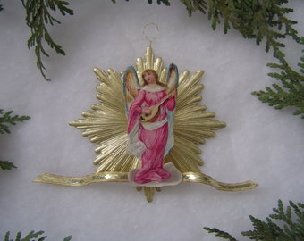Choice of Antique Angel Scrap Dresden Starburst 3-D Handmade Victorian Christmas Ornament