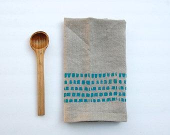 Hand Block Printed linen Tea Towel in Turquoise bricks