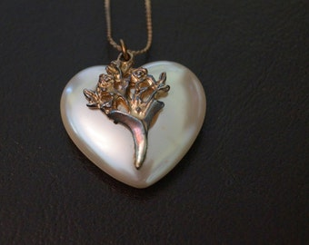 Vintage Heart Pendant on Gold Chain