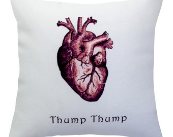 Thump Thump Heart Throw Pillow Cover With Invisible Zipper  No Pillow Inserts 134POGF1616W
