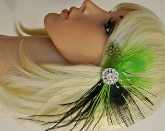 Green Feather  Hair Clip Prom  Headpiece Wedding  hair piece  Feather Fascinator  Feather hair clip Wedding Headpiece