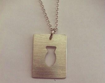 fish pendant, fish necklace, silver fish necklace, silver fish pendant,sawn fish pendant, square pendant with fish, sterling silver fish