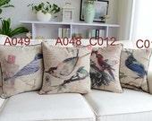 French Retro Vintage Country Bird Cotton Linen Decorative Pillows Cushion Cover Pillow Cover Sham