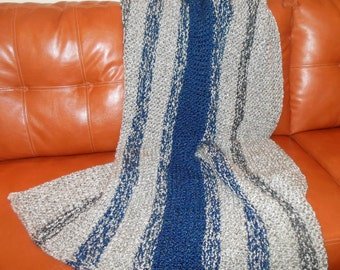 Hand Knitted Afghan, Warm Blanket, Warm Throw, Blue Striped Afghan