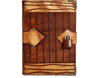 Engraved Line Padlock On A Brown Leather Journal / Notebook / Diary / Sketchbook / Leatherbound