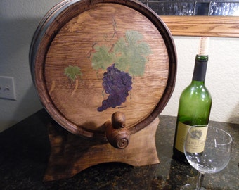 Hand Painted, Twenty Liter Oak Wine Barrel with Spigot and Stand, Home Brewing Wine, Spirits and Vinegar,