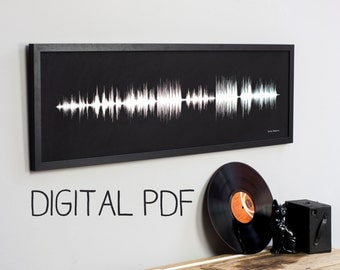 DIGITAL SONG PRINT Personalised Pdf Your Music Sound Wave High Resolution Download Extra Large Wide. Unique Anniversary Wedding Gift For Him