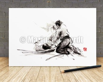 Samurai painting, samurai art print, samurai warrior, japan art, asian print, martial arts