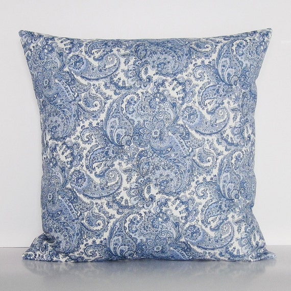 Blue Paisley Pillow Cover Decorative Throw Accent Sofa Couch