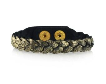 Magic Braid Leather Bracelet in Black Shimmer,Stacking Bracelet ,Presh Bracelet ,Leather Wrap Bracelet, Leather Cuff, Bracelet,