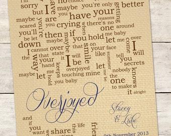 Wedding Song Lyric Art: Overjoyed by Matchbox 20 - Custom Song Lyrics Word Art Print