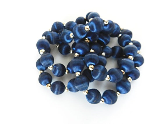 Vintage Royal Blue Satin Bead Necklace Silk Thread Beaded