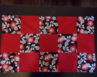 Table runner patchwork  approx 15 x 24 Red and Floral reversible.