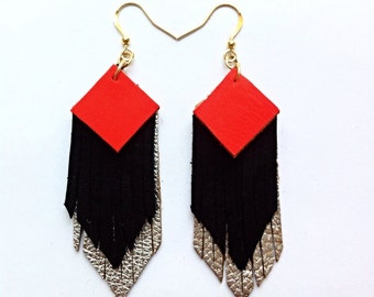 Fringed geometric tassel eco leather earrings, in Neon orange, black and silver leather hand-cut layers