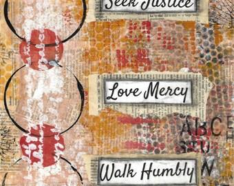 "Seek Justice, Love Mercy, Walk Humbly - 8"" x 10"" art print, mounted print, scripture art, bible verse"